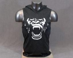 Black Gorilla Face Sleeveless Hoodie